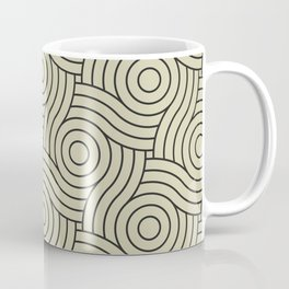 Circle Swirl Pattern Muted Green Inspired By Natural Olive Green - Martinique Dawn - Asian Silk Coffee Mug