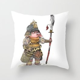 Cochon Samouraï Throw Pillow