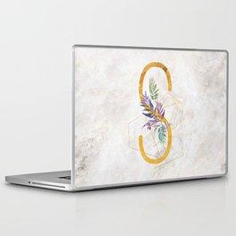 Modern glamorous personalized gold initial letter S, Custom initial name monogram gold alphabet prin Laptop & iPad Skin