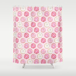 Pink Donuts Pattern on a pink background Shower Curtain