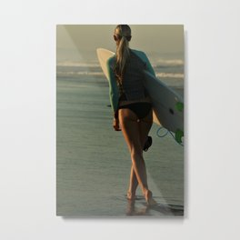 Wave Series Photograph No. 30 - Female Surfer at Sunset Metal Print