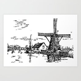 Dutch scene with windmill and house near a canal and freight boat Art Print