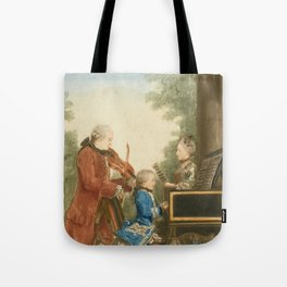 The Mozart family on tour: Leopold, Wolfgang, and Nannerl. Watercolor by Carmontelle, ca. 1763 Tote Bag