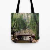 asian Tote Bags featuring Asian Garden by MehrFarbeimLeben