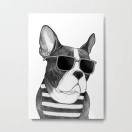 Frenchie Summer Style b&w Metal Print