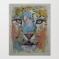 snow leopard Canvas Prints featuring Leopard by Michael Creese