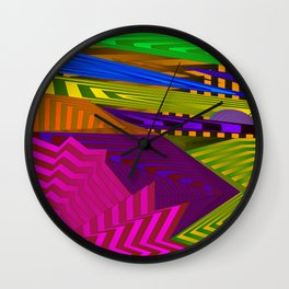Fancy neon landscap stylised pink mountains, sea and Sun. Wall Clock