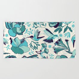 Hummingbird summerdance, Blue Beach Towel
