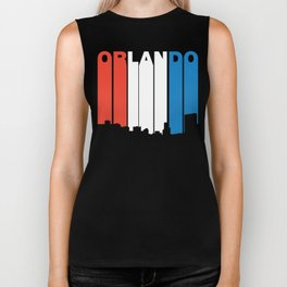 Red White And Blue Orlando Florida Skyline Biker Tank