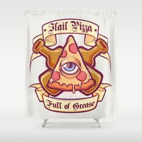 religion Shower Curtains featuring Pizza is my religion by Juan Sin Miedo