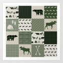 Camping hunter green plaid quilt cheater quilt baby nursery cute pattern bear moose cabin life by charlottewinter