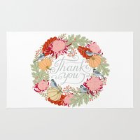 thanksgiving Area & Throw Rugs featuring Thanksgiving thank you card by Yuliya