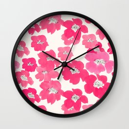 Camellia Flowers in Pink Wall Clock