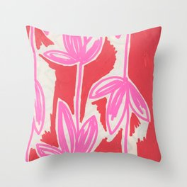 Red and Pink Sketchbook Botanical Throw Pillow