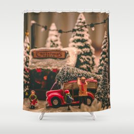 Tiny Christmas Town (Color) Shower Curtain