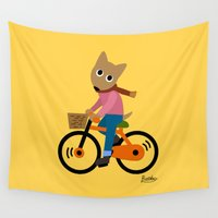 cycling Wall Tapestries featuring Sam's Cycling by BATKEI