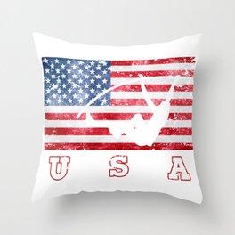 USA Pole Vault - Flag of America Throw Pillow