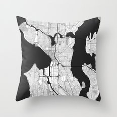 Seattle Map Gray Throw Pillow