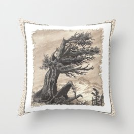 ANCIENT JUNIPER WINDSWEPT MOUNTAIN PEN AND PENCIL DRAWING Throw Pillow