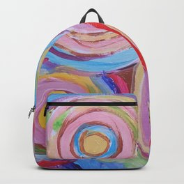 SPACE OF JOY Rainbow Circles Colourful Modern Abstract Painting Pink  Blue Purple Red Backpack