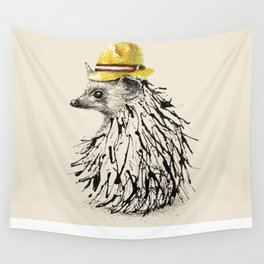 Hedgehog With Straw Hat Wall Tapestry