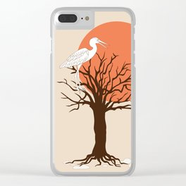heron sitting in the tree during sunset Clear iPhone Case