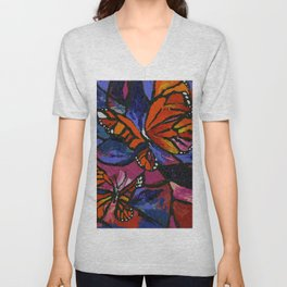 Bright Monarch Butterflies and Stained Glass Look by annmariescreations Unisex V-Neck