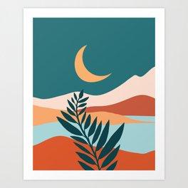 Moonlit Mediterranean / Maximal Mountain Landscape Art Print