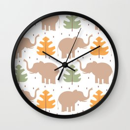 cute pattern background illustration with elephants and tropical exotic leaves Wall Clock