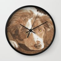 border collie Wall Clocks featuring Border Collie Puppy Wren by Yvonne Carter