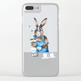 Rabbit brewing coffee with siphon Clear iPhone Case