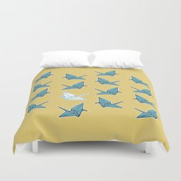 PAPER CRANES BABY BLUE AND YELLOW Duvet Cover