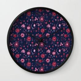 Pink and navy floral with wild roses Wall Clock