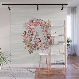 Initial Letter A Watercolor Flower Wall Mural