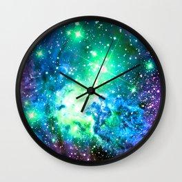 Fox Fur Nebula BRIGHT : Green Blue Purple Galaxy Wall Clock