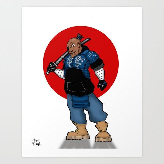 Street Samurai Series - Blue Art Print