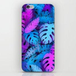 Blue pink tropical leaves iPhone Skin