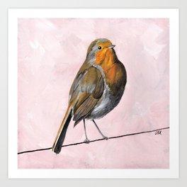 Robin Redbreast, Orange Bird Art Art Print