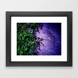 Whimsical moon in purple sky Framed Art Print