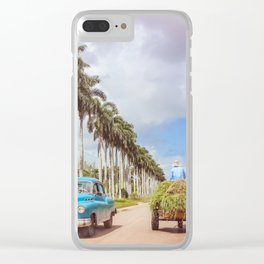 Cuba Old & New; Vintage Car & Farmer Clear iPhone Case