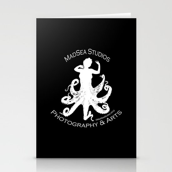 MadSea Nymph, white on black Stationery Cards