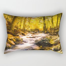 Wild waterfalls flowing through a forest Rectangular Pillow