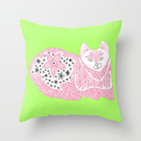 Pink Kitty Throw Pillow