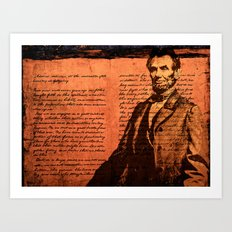 Abraham Lincoln and the Gettysburg Address Art Print