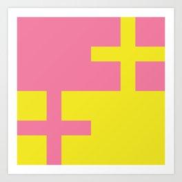 Pink + Yellow Crossover Art Print