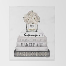 Fashion books, in Grey, with Hydrangeas, Cream, Make up, Watercolor, Fashion, Illustration Throw Blanket