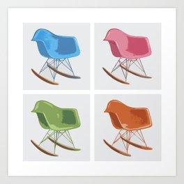 Mid-century Rocker Chairs Art Print