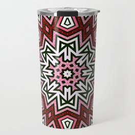 Geometric Red+Pink Star Travel Mug