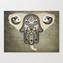 Elephant Hamsa Tree Ying Yang A403 Canvas Print