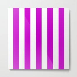 Deep magenta violet - solid color - white vertical lines pattern Metal Print